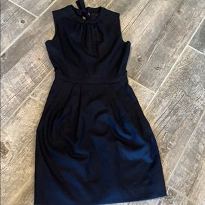 J. Crew Wool Navy Back Tie Dress